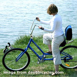 Woman riding blue bike by the ocean