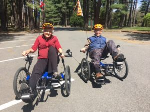 Two seniors go out on recumbent trike ride in Look Park