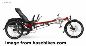 Very long framed red trike
