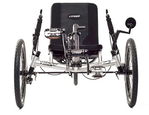 Catrike Villager Recumbent Trike. Front view.