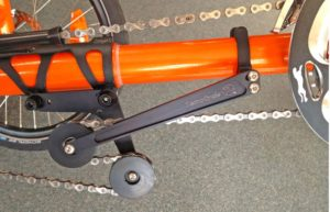 Close-up photo of a Catrike Boom Chain Tensioner that allows the boom to be adjusted so riders of different heights can share same trike.