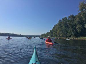Large group goes out kayaking on lake