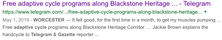 Free adaptive cycle programs along Blackstone Heritage Corridor