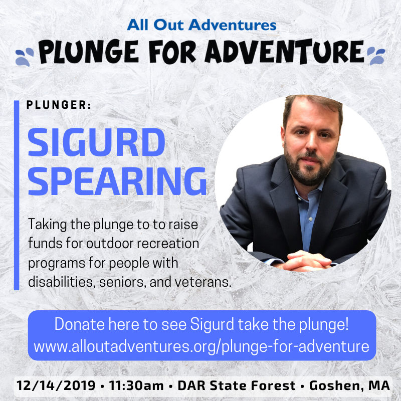 "Photo of Sigurd Spearing with heading ""Plunge for Adventure"""