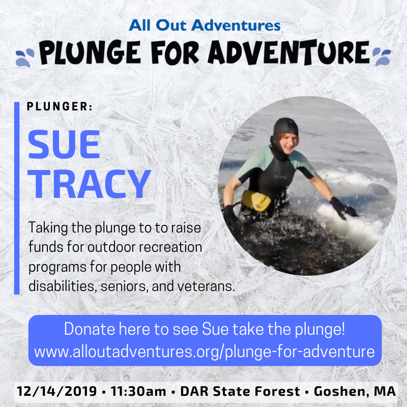 "Photo of Sue Trace with heading ""Plunge for Adventure"""