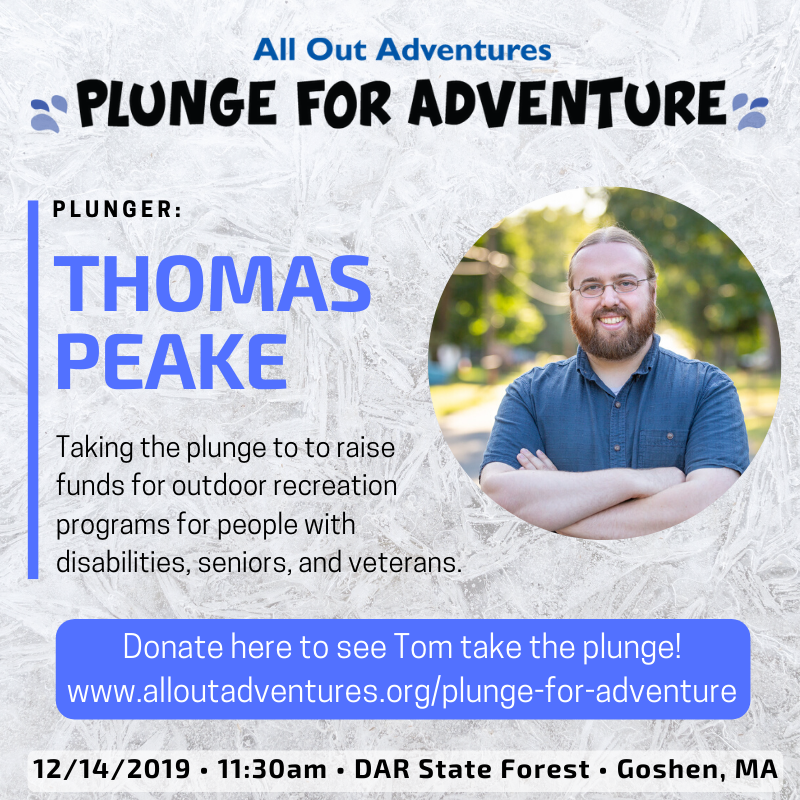 "Photo of Thomas Peake, with heading ""Plunge for Adventure"""