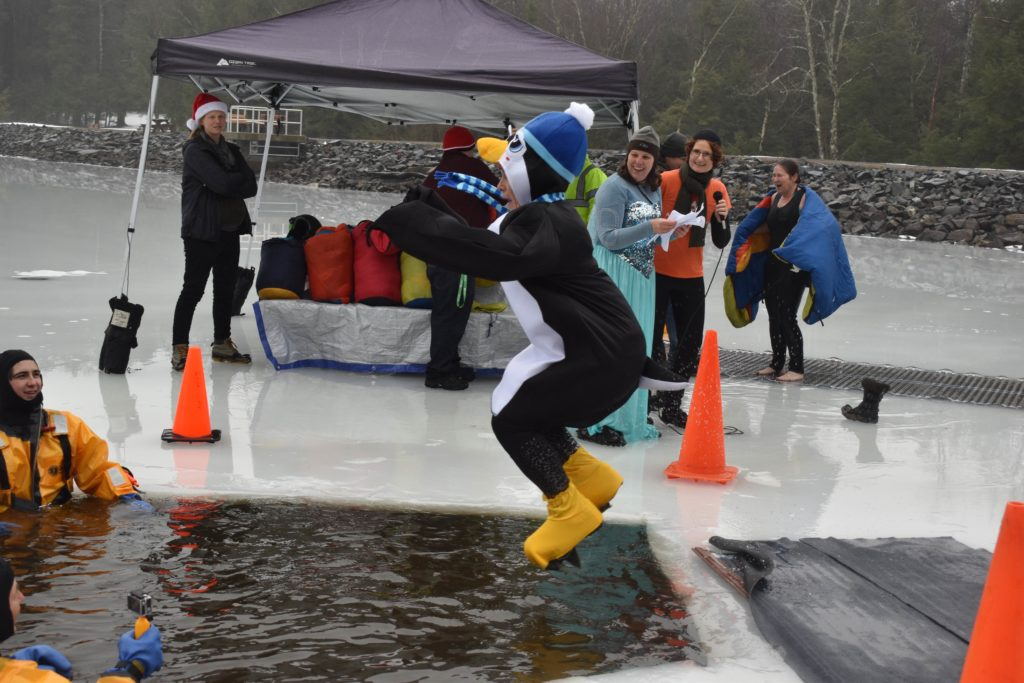 Woman dressed as penguin in mid-air jumping into lake