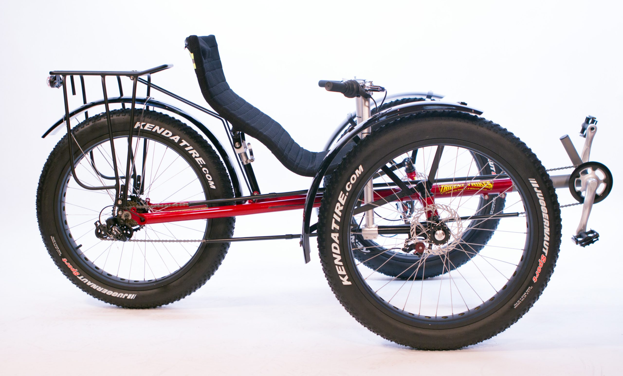 fat tire recumbent trike, red.